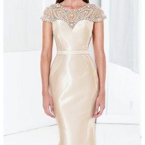 Terani couture E3780 champagne size 10
